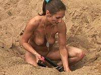 nude girl digging